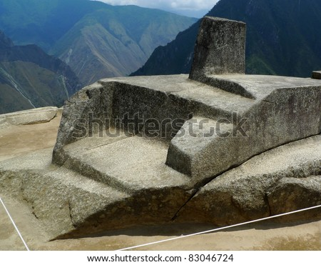 The famous sundial at Machu Picchu, Peru