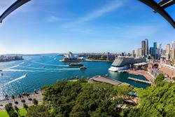 The famous Sydney Harbor and Sydney Harbor Bridge. Boat trip on a tourist boat along the picturesque shores of the port. Sidney is the oldest city in Australia.