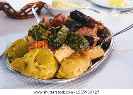 The famous traditional dish of the Azores is Cozido das Furnas. Vegetables and meat are cooked for a long time in hot volcanic soil. Traditional portuguese food, Azores cuisine, San Miguel, Portugal. Stock foto ©