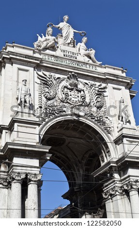 The famous Triumph Arch of Augusta Street in Lisbon, Portugal, next to Commerce Square