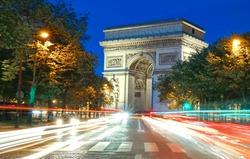The famous Triumphal Arch, Paris, France.