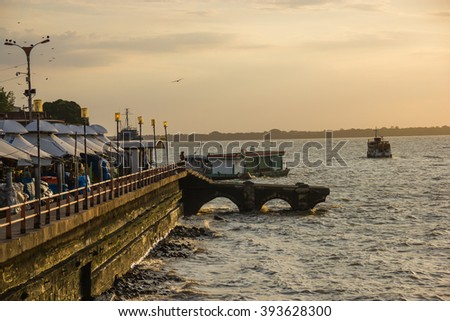 The Famous Ver o Peso Market in Belem and the Sea with the Sunset - Brazil Foto stock ©
