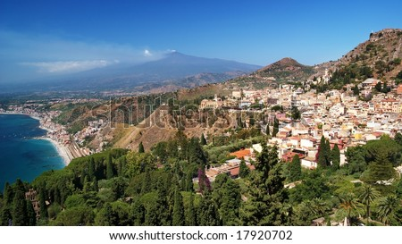 The famous view of Etna volcano from historical city Taormina, Sicily