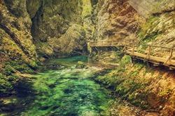 The famous Vintgar gorge Canyon, Bled, National Park Triglav, Slovenia, Europe in autumn