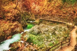 The famous Vintgar gorge Canyon with wooden path, Bled, National Park Triglav, Slovenia, Europe in autumn