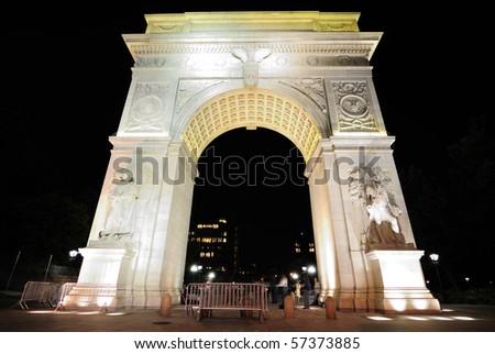 The famous Washington Square Arch, commemorating George Washington, in New York City.