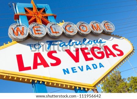 "The famous ""welcome to fabulous Las Vegas Nevada"" sign"