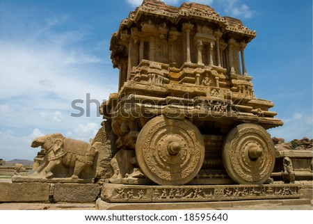 The fantastic stone chariot at the Vittala Temple, Hampi, India.