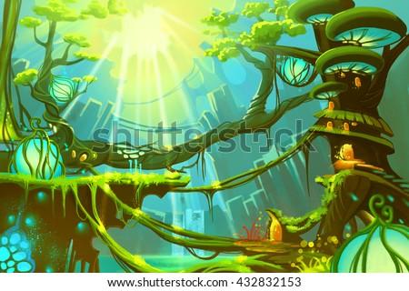 stock photo the fantasy wild forest with sunlight video game digital cg artwork concept illustration 432832153 - Каталог — Фотообои «Для детской»