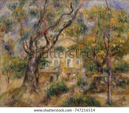 The Farm at Les Collettes, Cagnes, by Auguste Renoir, 1908_14, French impressionist oil painting. Renoir moved to the Mediterranean near Nice in 1907 and painted his farmhouse framed by olive trees