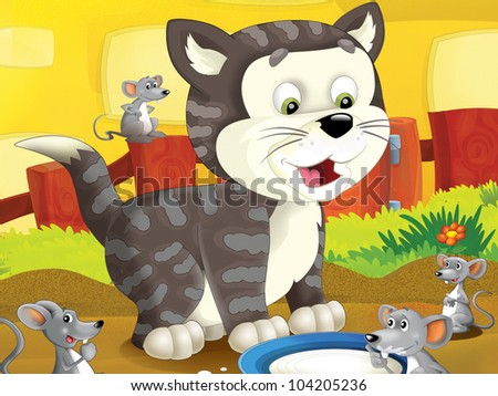 The farm cartoon cat