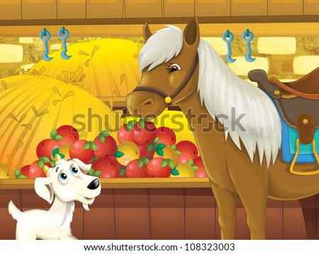 The farm illustration for kids - many different elements - horse and goat eating and talking