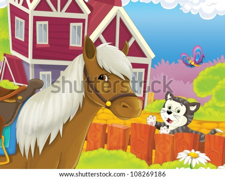 The farm illustration for kids - many different elements - meeting of two friends - horse and cat chatting 2