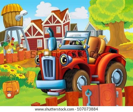 The farm illustration with tractor - for children -educational - visual