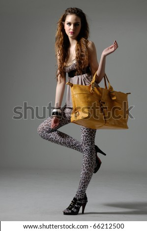 The fashionable young woman holding bag