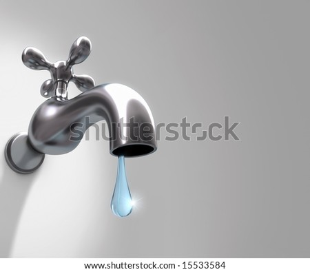 The faucet and last drop of water. Concept of the importance of water. Your text on the right space.