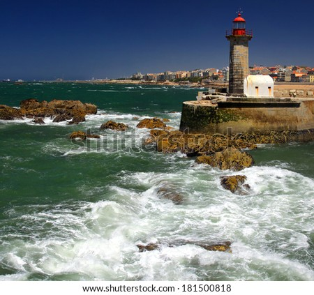 The Felgueiras Lighthouse at Douro�s river mouth in Foz do Douro not far from Oporto