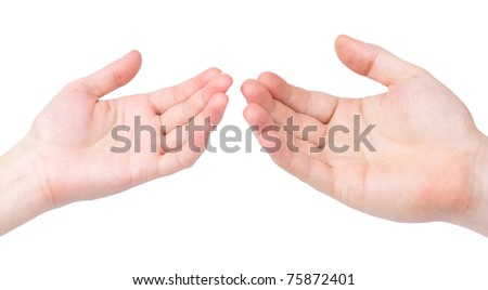 The female and man's hand to last to each other palms upwards