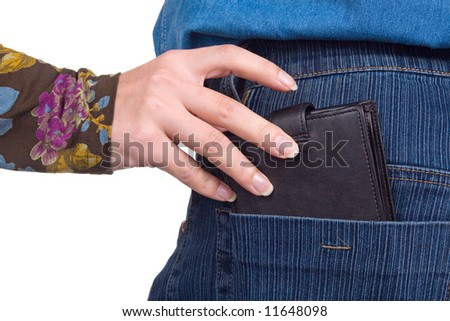 The female hand pulls out a purse from a pocket of the man.
