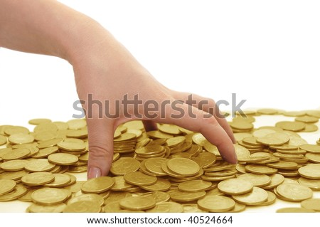 The female hand takes coins