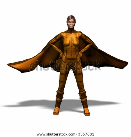 The female super hero with boots and Cape appears the mankind - stock photo