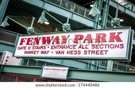The Fenway Park Stadium Sign in Boston, Massachusetts,USA.