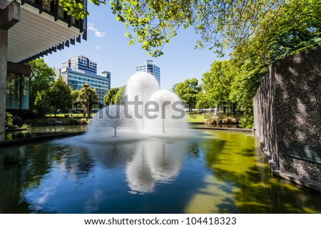 The Ferrier Fountain, Victoria Square, Christchurch, New Zealand, on a sunny summer day. Taken before the earthquakes of 2010-11.