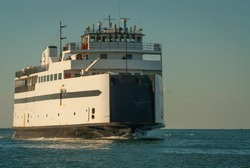 The ferry enters Nantucket Harbor