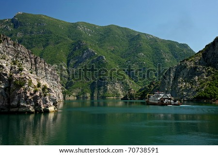 The ferry that connects the cities Koman and Fierze, on Lake Koman, Albania