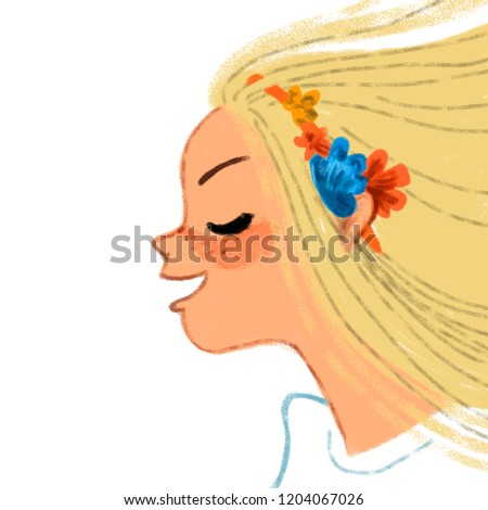Stock Photo The fictional image. Fantasy portrait. Young beautiful woman. Long blond hair. Hairstyle salon. Artworks. Flowers. Close eyes.