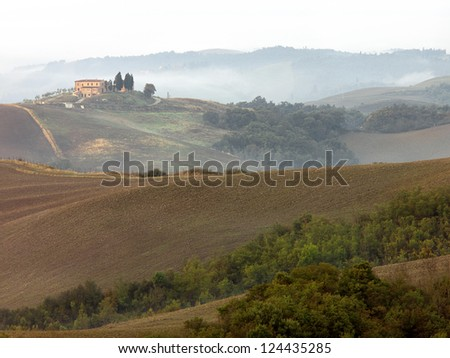 The fields have been plowed and seeded for the next growing season in the Tuscan Valley.