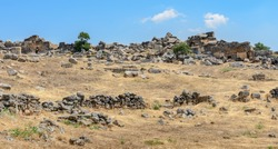 The fields of archaeological ruined stones of former city, Turkey