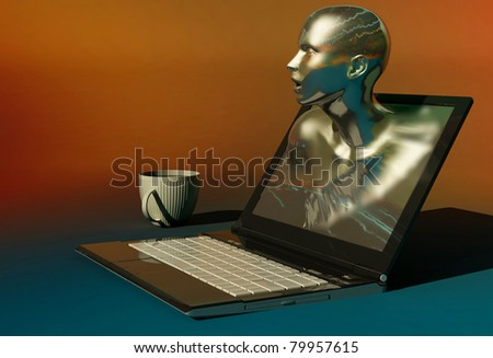 The figure of a human head from the laptop.