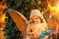 The figure of an angel in a golden glow. Symbol of sorrow, love, invisible forces, purity, enlightenment, ministry. Guard. Place for the inscription.