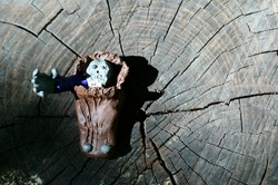 The figure of the zombie from clay peeking out of the coffin.