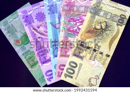 The Fijian dollar (currency sign: FJ$, $; currency code: FJD) is the currency of Fiji. Colorful money notes featuring flora and fauna, Fijian places and industries. $5, $10, $20, $50, $100. Stock fotó ©