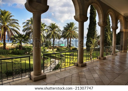 The fine park shined by the sun at a monastery at lake Kinneret