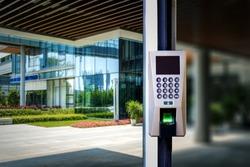 The fingerprint code is locked on the glass door