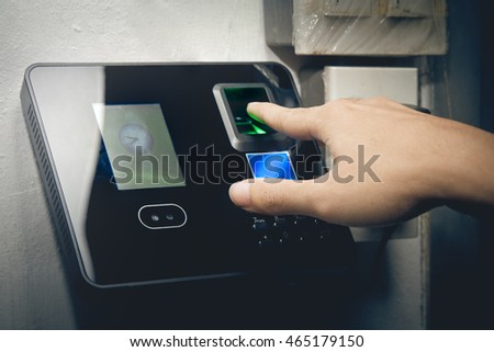 The fingerprint scanner to record working time.
