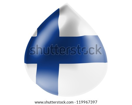 The Finnish flag painted on 3D water drop