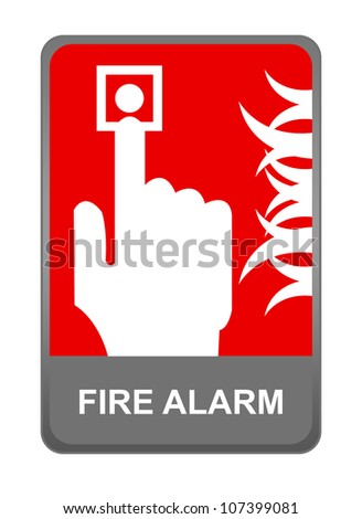 The Fire Alarm Sign Present with Isolated on White Background