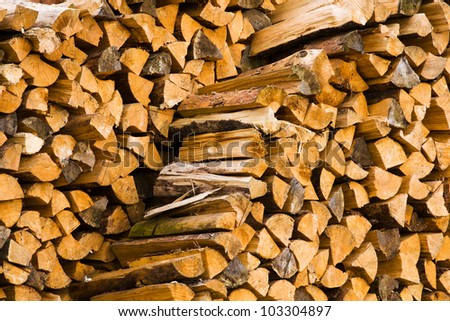 the firewood combined in two ranks for a furnace kindling