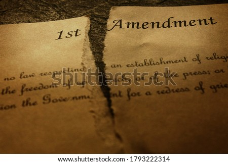 The First Amendment of the US Constitution, torn in half. Civil rights concept                         Photo stock ©