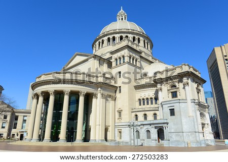 The First Church of Christ Scientist, the mother church of Christian Science in the back bay of Boston, Massachusetts, USA #272503283