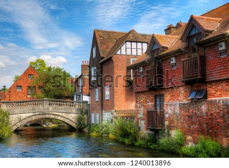 Photo of  The First City Bridge, Called the Soke Bridge, Crossing the River Itchen in Winchester, England, Built by St Swithun