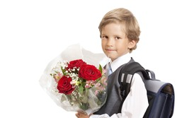 The first-grader with a bouquet on a white background