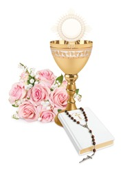 The First Holy Communion, background for greetings cards