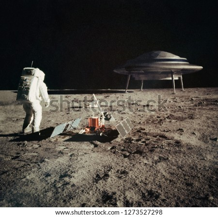 The first man on the moon, and what he found there. Astronaut met with ufo. Elements of this image furnished by NASA. Photo with 3d rendering element and vintage film camera effects