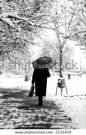 The first Snow. The woman goes along the street