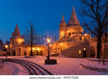 The Fisherman's Bastion in winter in Budapest - Hungary at night